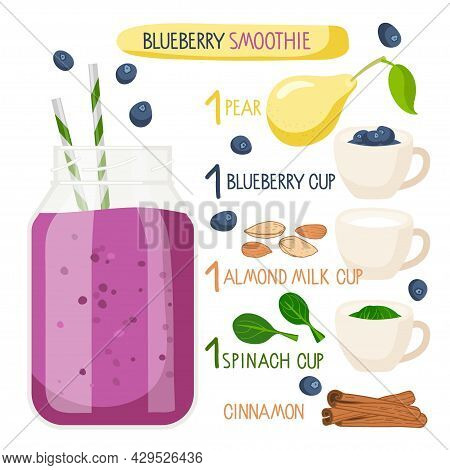 Blueberry Smoothie Recipe. Blueberry Smoothie Cup With Ingredients. Glass Cup. Berry, Pear, Cinnamon