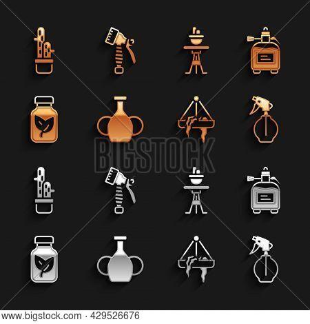 Set Vase, Garden Sprayer For Fertilizer, Water Bottle, Plant In Hanging Pot, Fertilizer, On Table, C