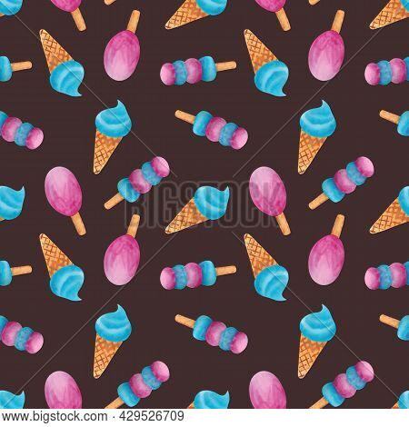 Seamless Pattern With Ice Cream On A Brown Background. Ice Cream Cone. Ice Cream On A Stick. Various