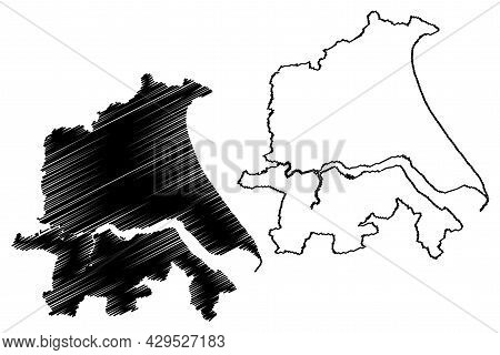 Humberside County (united Kingdom, Non-metropolitan And Ceremonial County Of England) Map Vector Ill
