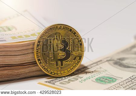 Bitcoin Btc Included With Cryptocurrency Coin On Stack 100 Hundred New Us Dollar Money American Virt