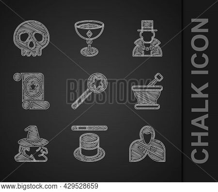Set Magic Wand, Hat, Mantle, Cloak, Cape, Mortar Pestle, Witch, Scroll, Magician And Skull Icon. Vec