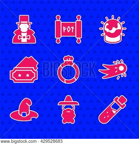 Set Magic Stone Ring With Gem, Wizard Warlock, Bottle Potion, Fireball, Witch Hat, Ticket, And Magic