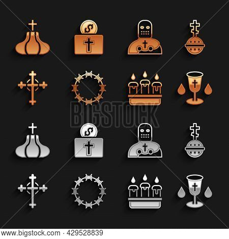 Set Crown Of Thorns, Christian Cross, Chalice, Burning Candle In Candlestick, Knight Crusader, Churc