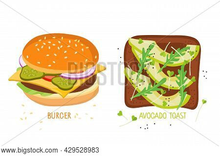 Healthy Food And Junk Food. Healthy And Unhealthy Snacks. American Cheeseburger Vs. Toast With Avoca