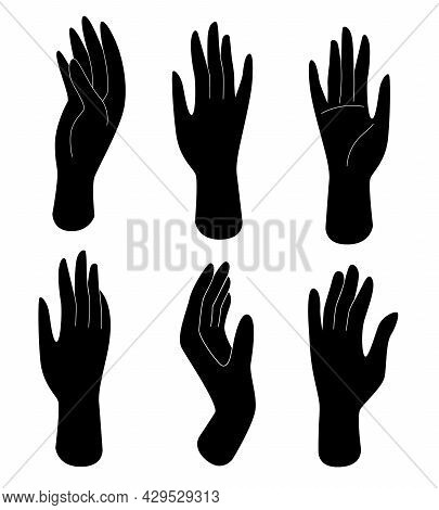 Set Of Black Silhouette Female Hands With Different Gestures. Human Body Parts, Body Care, Female Be