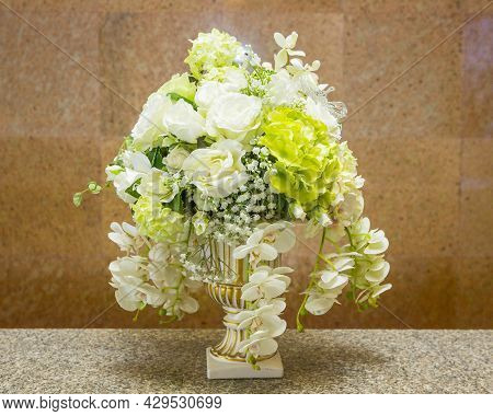 Beautifully Decorated And Arranged Flowers At A Wedding