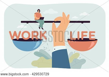 Huge Hand Balancing Work And Life On Scales. Cartoon Character Controlling Balance Of Career And Rel