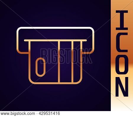 Gold Line Credit Card Inserted In Card Reader Icon Isolated On Black Background. Atm Cash Machine. V