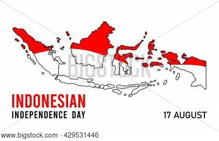 Indonesian Independence Day Vector Isolated On Black Background. Happy Independence Indonesian Desig