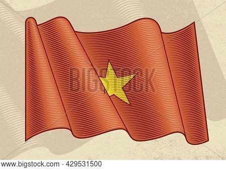 Vintage flag of Vietnam in woodcut style