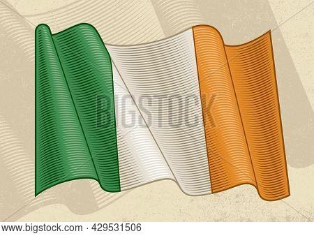 Vintage flag of Ireland in woodcut style