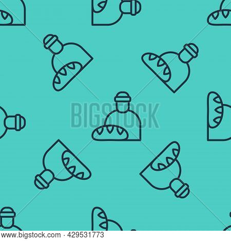 Black Line Feeding The Homeless Icon Isolated Seamless Pattern On Green Background. Help And Support