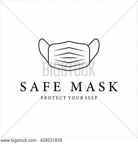 Mask Logo Line Art Simple Minimalist Vector Illustration Template Icon Design