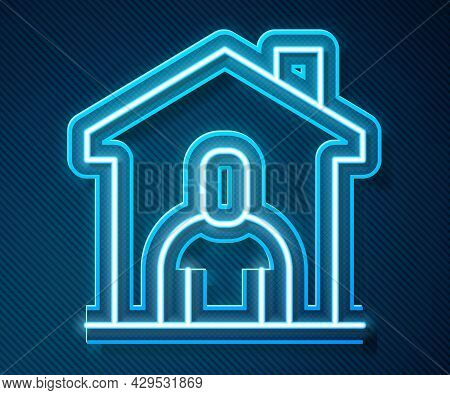 Glowing Neon Line Shelter For Homeless Icon Isolated On Blue Background. Emergency Housing, Temporar