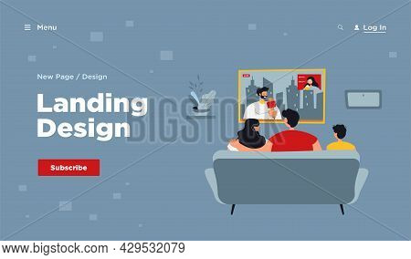 Happy Family With Kid Sitting On Sofa And Watching News Isolated Flat Vector Illustration. Back View