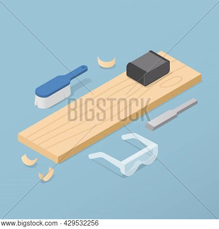 Vector Isometric Woodworking Illustration. Wooden Plank With Woodwork Tools - Chisel, Sandpaper, Bru