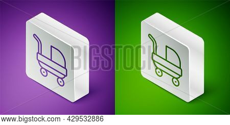 Isometric Line Baby Stroller Icon Isolated On Purple And Green Background. Baby Carriage, Buggy, Pra