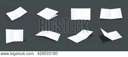 Blank White Bifold Brochure Mockups Collection With Different Views And Angles