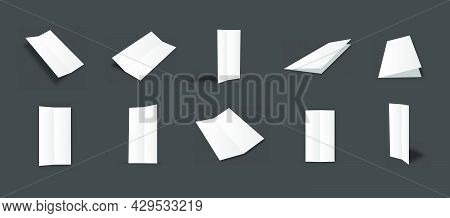 Blank White Slim Bifold Brochure Mockups Collection With Different Views And Angles