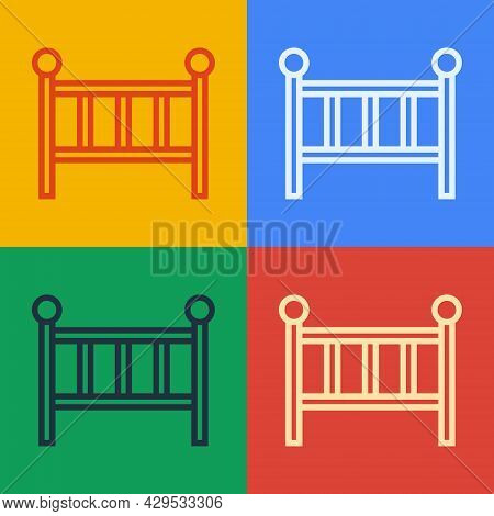 Pop Art Line Baby Crib Cradle Bed Icon Isolated On Color Background. Vector