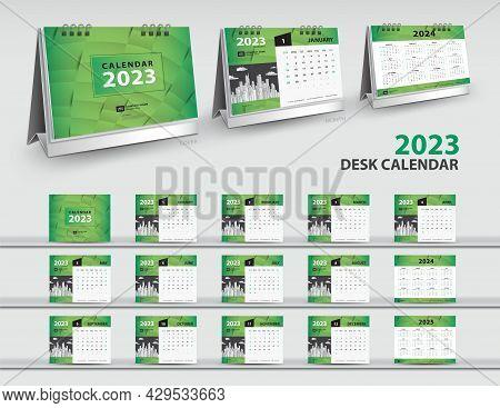 Calendar 2023, 2024, 2025 Year Template, 3d Mockup Desk Calendar 2022, Wall Calendar Design, Green C