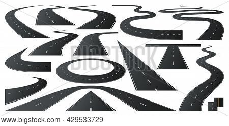 Asphalt Roads, Highway Turn And Curve Long Way. Vector Includes White Stripes And Two Yellow Lines R