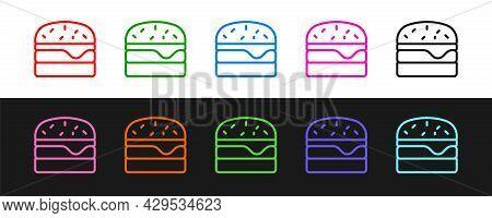 Set Line Burger Icon Isolated On Black And White Background. Hamburger Icon. Cheeseburger Sandwich S