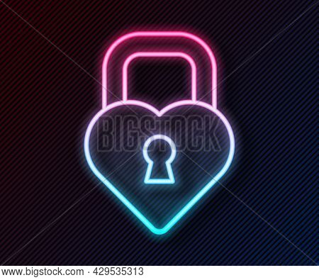 Glowing Neon Line Castle In The Shape Of A Heart Icon Isolated On Black Background. Locked Heart. Lo