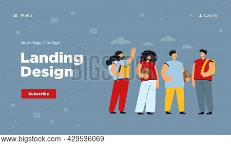 Teen School Friends Vector Illustration. Diverse Group Of Happy College Students Holding Books And T