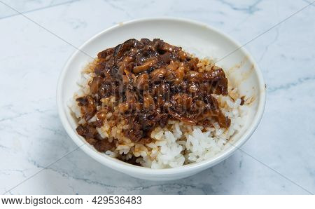 Braised Pork On Rice Is Minced Pork Served With Pickles On Top Of Steamed Rice, Taiwan Food(taiwanes