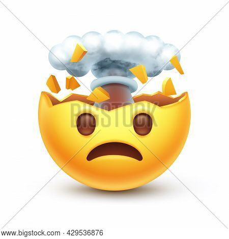 Mind Blown Emoticon, Shocked Sad Yellow Face With Brain Explosion Mushroom Cloud 3d Stylized Vector
