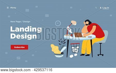 Tired Woman Sitting At Table On Work Flat Vector Illustration. Cartoon Exhausted Female Character Wo