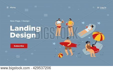 People Enjoying Various Summer Activities On Beach, Swimming, Surfing, Sitting Under Umbrella. Touri