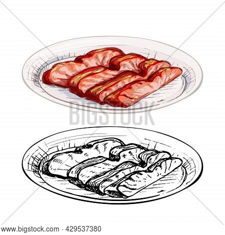 Char Siu On Plate. Vintage Vector Hatching Color Hand Drawn Illustration Isolated On White Backgroun