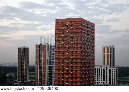 Windows Of A High-rise Building. High-rise Buildings With Apartments For Residential Use