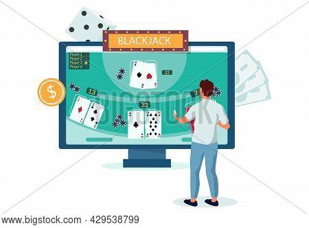 Man Playing Internet Blackjack Game, Flat Vector Illustration. Online Casino Gambling. Entertainment