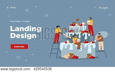 Cooking Dessert Job Vector Illustration. Tiny Cooks Decorating Huge Cakes With Fruits, Berries, Crea