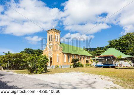 Catholic church in the village of La Passe, La Digue, Seychelles