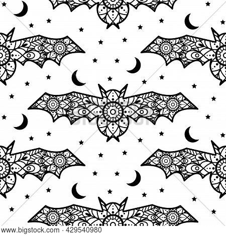 Halloween Bats Decoration Seamless Pattern. Lace Ornament Bat With Moon And Stars Decor.
