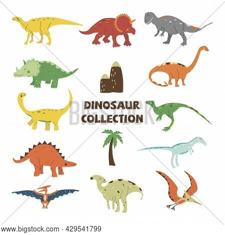 Dinosaurs Collection. Parasaurolophus And Gallimimus, Pterosaur And Triceratops, Stegosaurus And Had