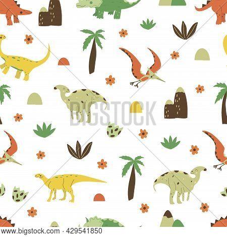 Seamless Pattern Dinosaurs Parasaurolophus And Gallimimus, Pterosaur And Triceratops, Stegosaurus An