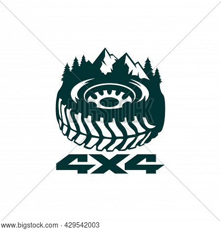 Off Road Mountain Adventure Logo Icon Flat Vector Concept Graphic Design