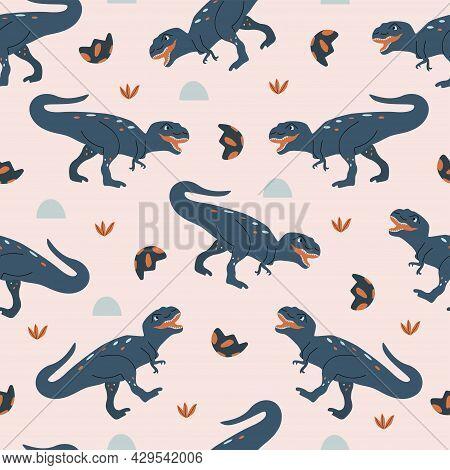 Seamless Pattern Tyrannosaurus Rex Dinosaur. Large Extinct Ancient Carnivorous Reptile, Jurassic. Co