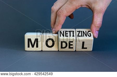 Monetizing Model Symbol. Businessman Turns Wooden Cubes And Changes The Word 'monetizing' To 'model'
