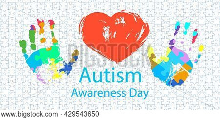 World Autism Awareness Day. Symbolic Prints Of Children's Palms From Rainbow Puzzles. Symbol Of Auti