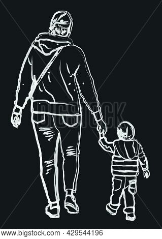 Watercolor Brush Drawing Of Silhouettes Mother And Her Baby Walking For A Stroll