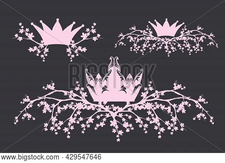 Royal Crown And Sakura Flower Branches Vector Page Design Elements Silhouette Set For Princess Or Qu