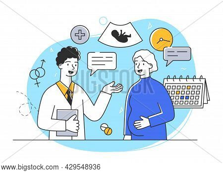 Pregnant Female Character At The Doctors Appointment. Cheerful Woman Expecting A Baby Visits A Docto