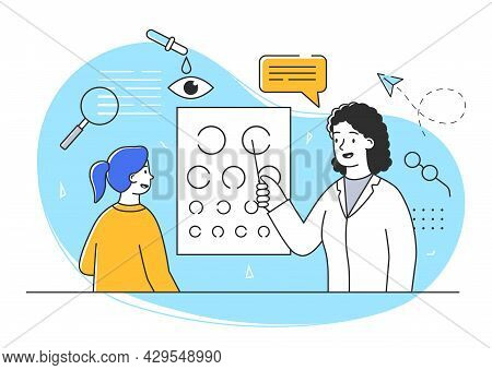 Young Female Character At The Doctors Appointment. Cheerful Girl Is Having Her Eyesight Tested By Do